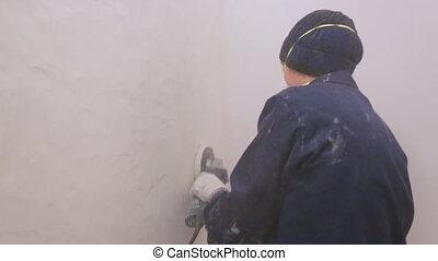 enlever, ouvrier, mur, surface, couverture