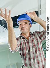 enlever, plafond, panneaux