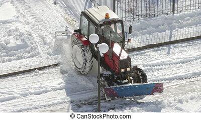 enlever, tracteur, neige, walkways