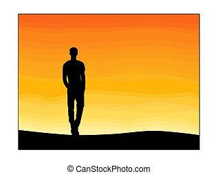 enlige, solnedgang, mand, sky.