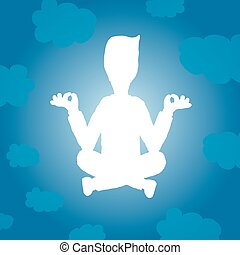 Cartoon illustration of yoga silhouette with light on the sky