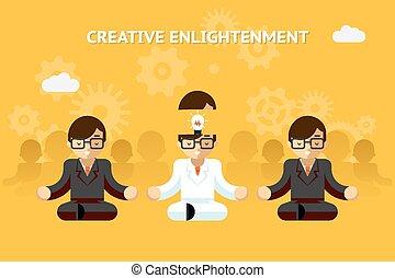 enlightenment., 概念, ビジネス, 教祖, 考え, 創造的