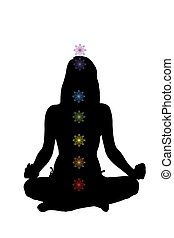 Enlightenment. - Beautiful girl sitting in lotus position...