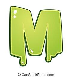 enlodado, fonte, tipo, m, letra