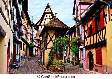 enmaderado, francia, pueblo, casas, alsaciano, colorido, eguisheim