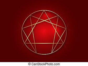 Enneagram icon, sacred geometry, golden vector illustration isolated on dark red background