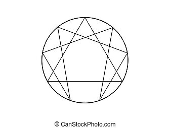 Enneagram icon, sacred geometry, vector illustration ...