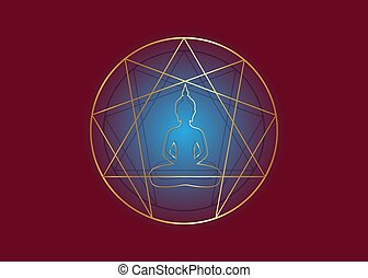 Enneagram yoga gold icon design for infographics and ...