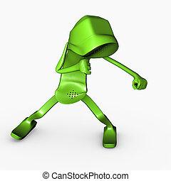 ennemi, boxe, fin, telco, pose, caractère, isolé, concurrence, téléphone, attaque, concept, bas, 3d