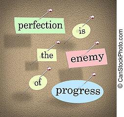 ennemi, proverbe, citation, perfection, progrès, tableau affichage