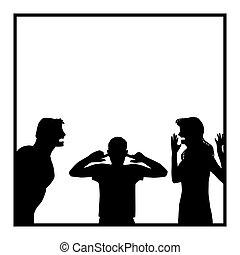 ennuyé, disputer, fils, famille, parents, conflit