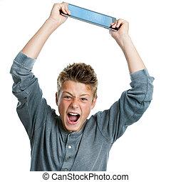 enojado, adolescente, levantar, tablet.