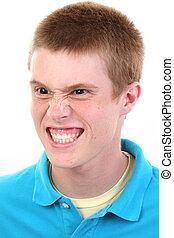 enojado, adolescente niño