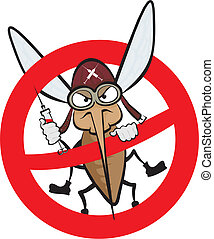 enojado, advertencia, -, mosquito, señal