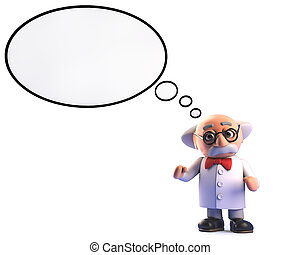 enojado, burbuja, carácter, científico, profesor, idea de ...