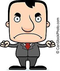 enojado, businessperson, caricatura, hombre