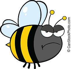 enojado, carácter, abeja