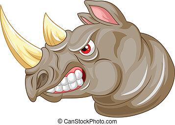 enojado, carácter, caricatura, rinoceronte