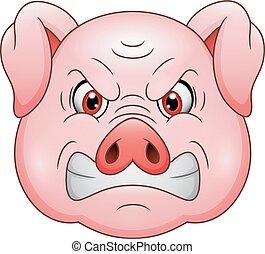 enojado, caricatura, cerdo, mascota, cabeza