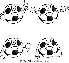 enojado, caricatura, fútbol, conjunto