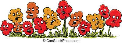 enojado, caricatura, flores