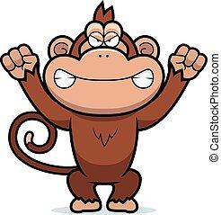 enojado, caricatura, mono