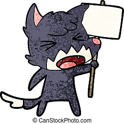 enojado, caricatura, zorro, con, señal