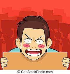 enojado, cartón, protestador, tenencia