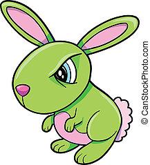 enojado, conejo, conejito, verde, tóxico