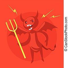 enojado, diablo
