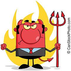 enojado, diablo, delante de, llamas