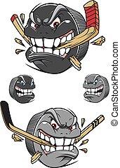 enojado, disco, chomping, mal, palo, hockey