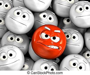 enojado, emoticon, cara, entre, otros
