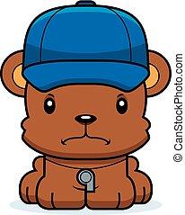 enojado, entrenador, caricatura, oso