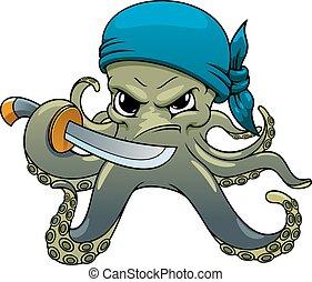 enojado, espada, pulpo, pirata, caricatura