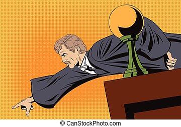 enojado, exposiciones, dedo, podium., juez