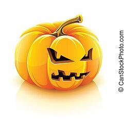 enojado, farol gato o, halloween, calabaza