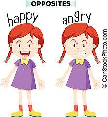 enojado, feliz, contrario, wordcard