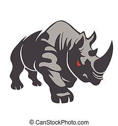 enojado, fondo blanco, rinoceronte