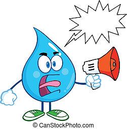 enojado, gota agua, con, burbuja del discurso