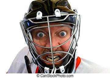 enojado, hockey, portero