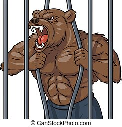 enojado, jaula, 3, oso