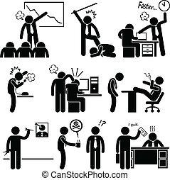 enojado, jefe, abusar, empleado