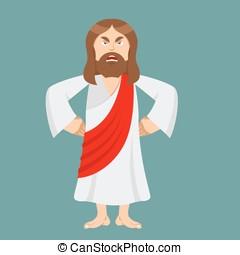 enojado, jesus., jesús, es, no, satisfied., enfadar, por,...