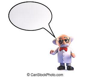 enojado, loco, burbuja, científico, profesor, discurso, ...