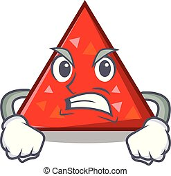 enojado, mascota, estilo, triangel, caricatura