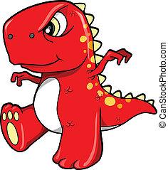 enojado, medio, dinosaurio, rojo, t-rex