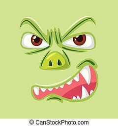 enojado, monstruo verde, cara