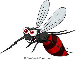 enojado, mosquito, caricatura