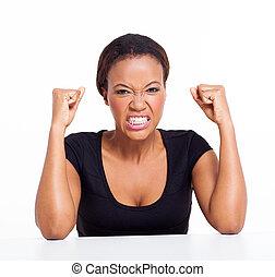 enojado, mujer africana
